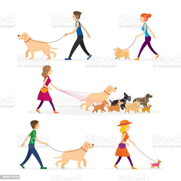 People walking with dogs set vector id958679446?b=1&k=6&m=958679446&s=612x612&h=alb0ouwgtzm uy7untnwxmjzpyviyz3bs5rwurf08jy=