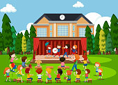 People watching band on stage illustration