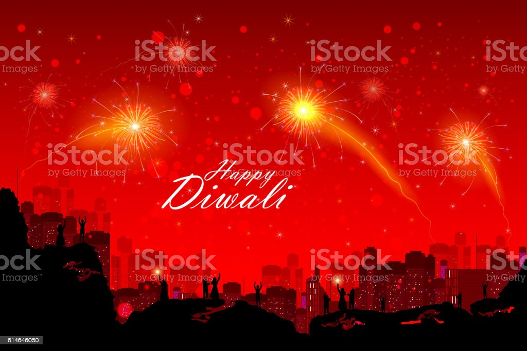 People watching fireworkin Happy Diwali night sky for India festival vector art illustration