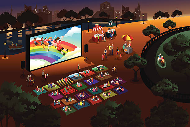 stockillustraties, clipart, cartoons en iconen met people watching outdoor movie in a park - buitenopname