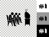 People Watching TV Icon on Checkerboard Transparent Background. This 100% royalty free vector illustration is featuring the icon on a checkerboard pattern transparent background. There are 3 additional color variations on the right..