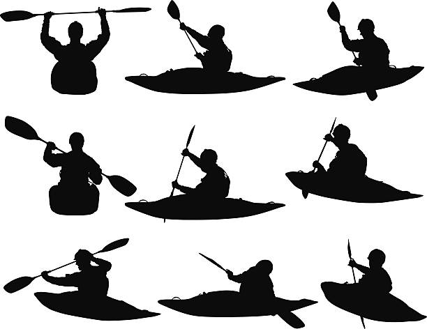people water rafting - kayaking stock illustrations, clip art, cartoons, & icons