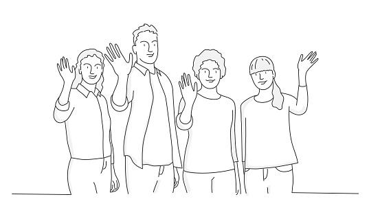 People waving hand