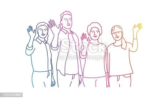 istock People waving hand. 1224232892