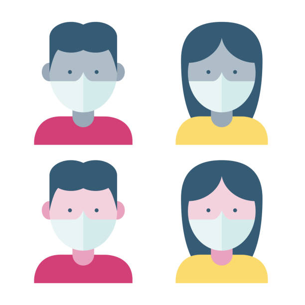 menschen, die eine gesichtsmaske tragen - ffp2 maske stock-grafiken, -clipart, -cartoons und -symbole