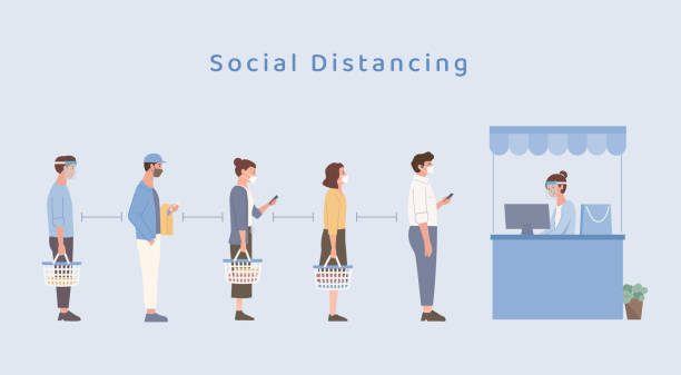 People wearing a mask doing social distancing while standing in queue in the Shopping center. Holding a shopping basket and waiting for payment to buy clothing. The new normal. vector art illustration