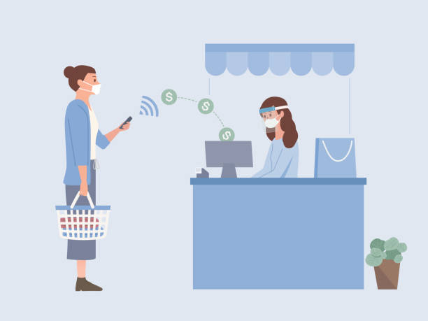 People wearing a surgical mask and holding Shopping basket using Mobile Payment to pay Money online to sending money into drawer of Cash register at the cashier of a shopping mall. vector art illustration