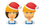 Illustration of people wearing a work hat and a santa hat