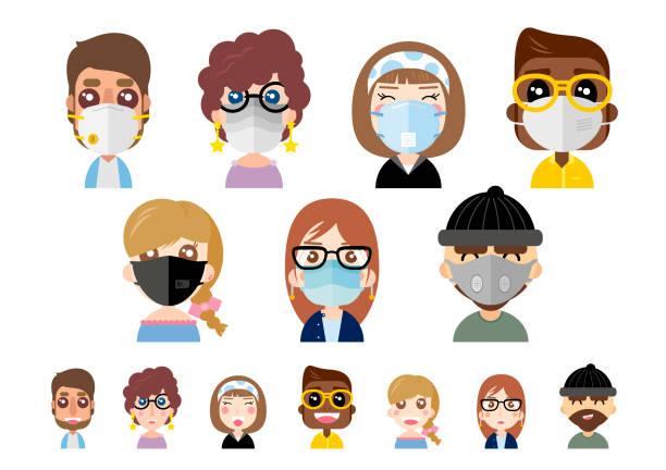 Menschen tragen Staubmasken auf weißem Hintergrund-Vektor-illustration – Vektorgrafik