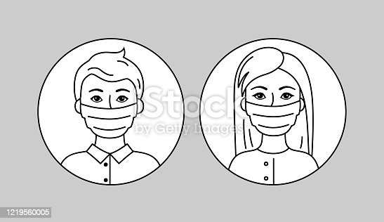 People Wearing Face Mask, European Man And Woman. Black And White Vector Pictogram, Simple Flat Icon. Medical Respirators To Prevent Air Pollution, Flu. Sars-Covid-19 Pandemic. Healthcare Concept.