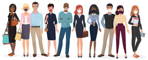 People wearing face masks to prevent coronavirus vector art illustration