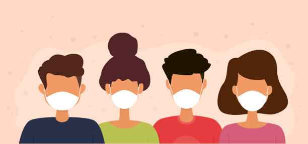 people wearing medical face masks. protection against germs of infection. - face mask illustrations stock illustrations