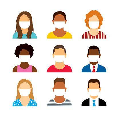 People wearing medical face masks