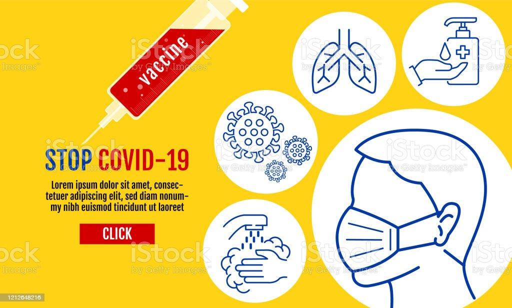 바이러스 우한 Covid-19, 코로나바이러스 보호 관련 벡터 라인 아이콘, 벡터, 보호 조치, 코로나바이러스 증상 등의 아이콘을 포함하는 보호 의료 용 마스크를 착용하는 사람들. - 로열티 프리 19 벡터 아트