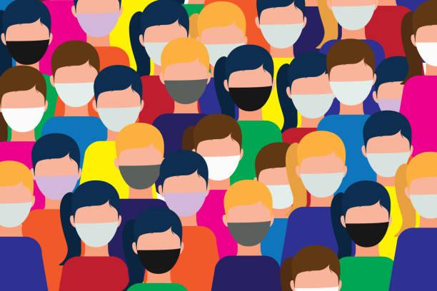 illustrations, cliparts, dessins animés et icônes de personnes portant des masques chirurgicaux contre le coronavirus. - covid france