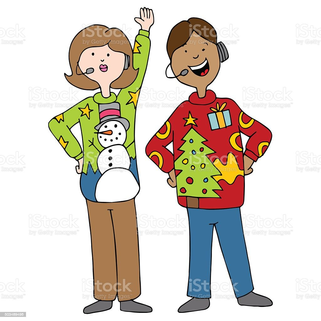 People Wearing Ugly Christmas Sweaters Stock Illustration ...