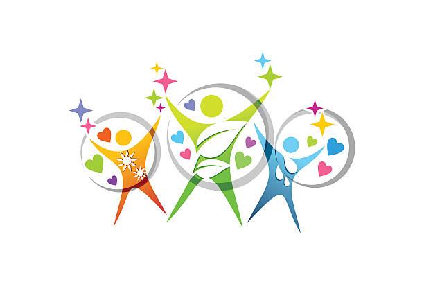 人の家族の健康医療教育シンボルアイコンベクトルのロゴデザイン - スポーツ医学点のイラスト素材/クリップアート素材/マンガ素材/アイコン素材