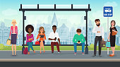 People were sitting at the modern bus stop. Vector illustration