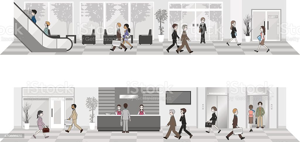 People who work in the office vector art illustration