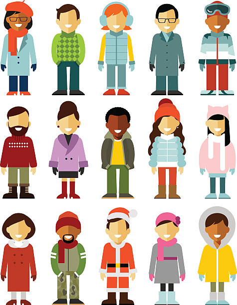 people winter characters stand set isolated on white background - business casual fashion stock illustrations