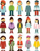 People winter characters stand set isolated on white background