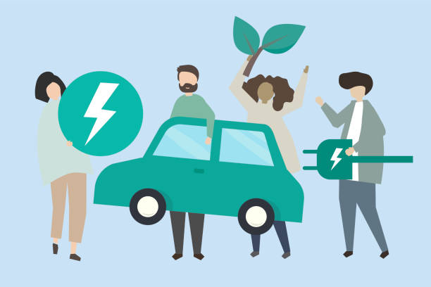 People with an electric car illustration People with an electric car illustration alternative fuel vehicle stock illustrations