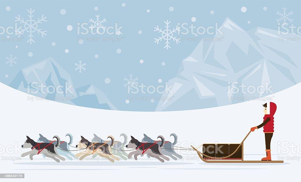 People with Arctic Dogs Sledding, Iceberg Background vector art illustration