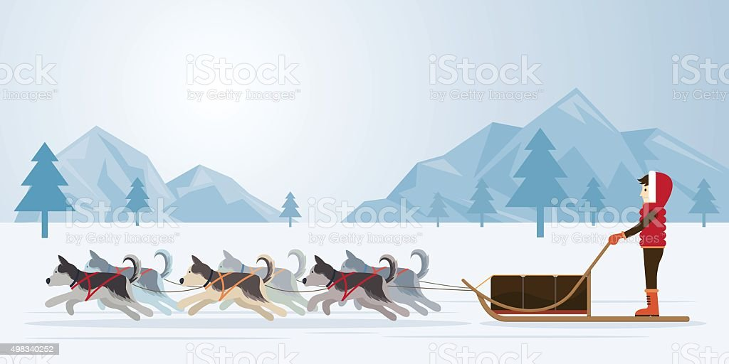 People with Arctic Dogs Sledding, Panorama Background vector art illustration