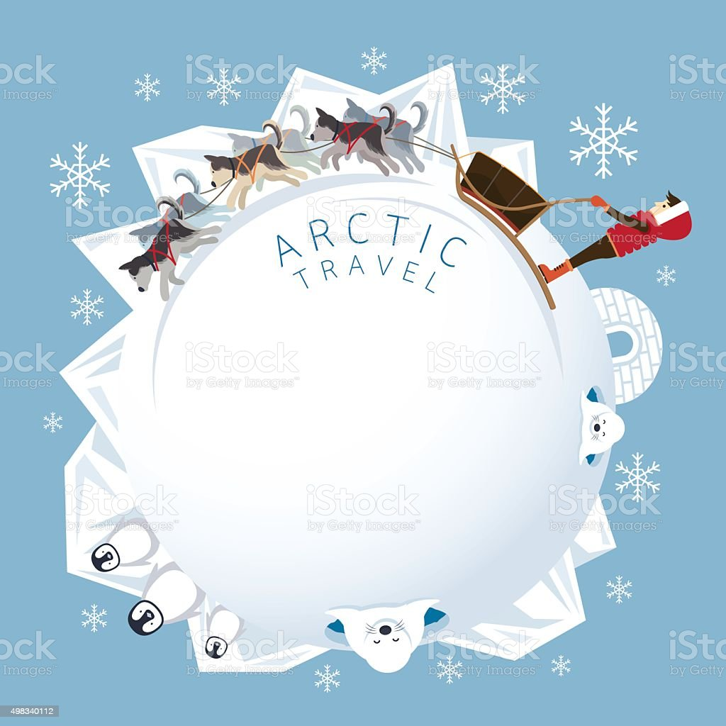 People with Arctic Dogs Sledding, Round Frame vector art illustration