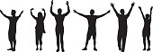 People With Arms Raised Silhouettes