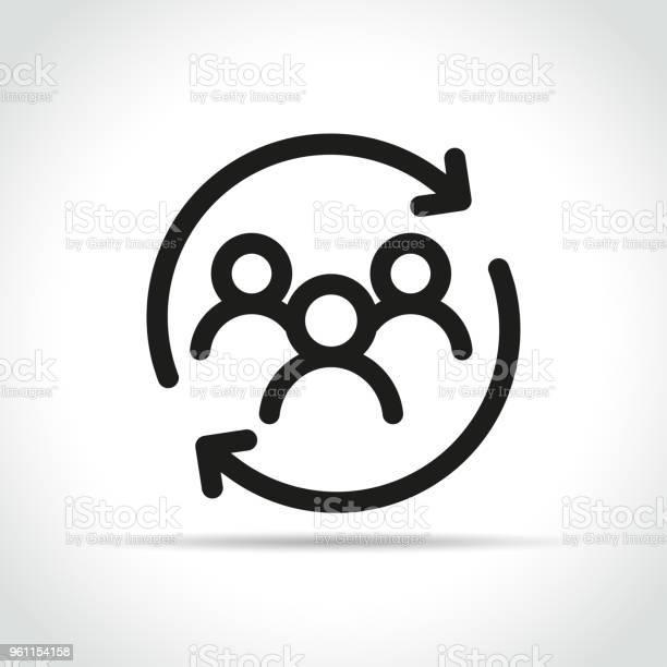 People With Arrow Icon On White Background - Arte vetorial de stock e mais imagens de Cliente