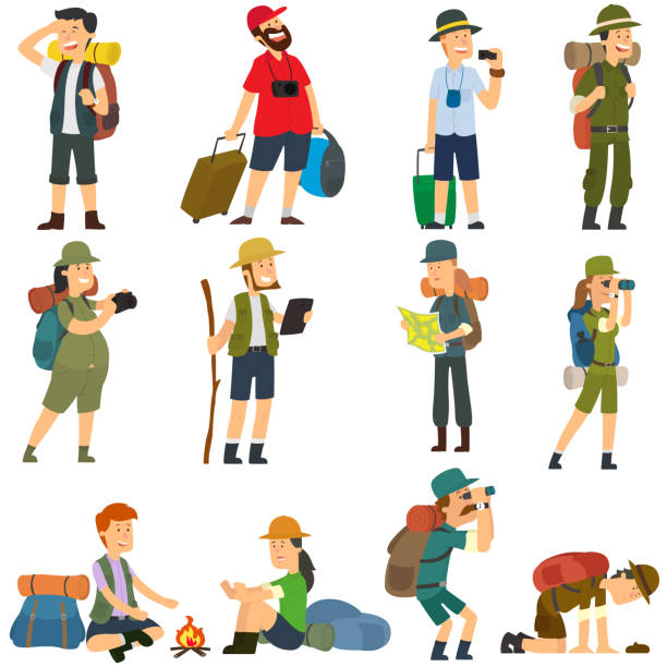 People with backpacks are hiking. People with backpacks are hiking. Men and women in camp clothes isolated on white background. vector illustration. hiking stock illustrations