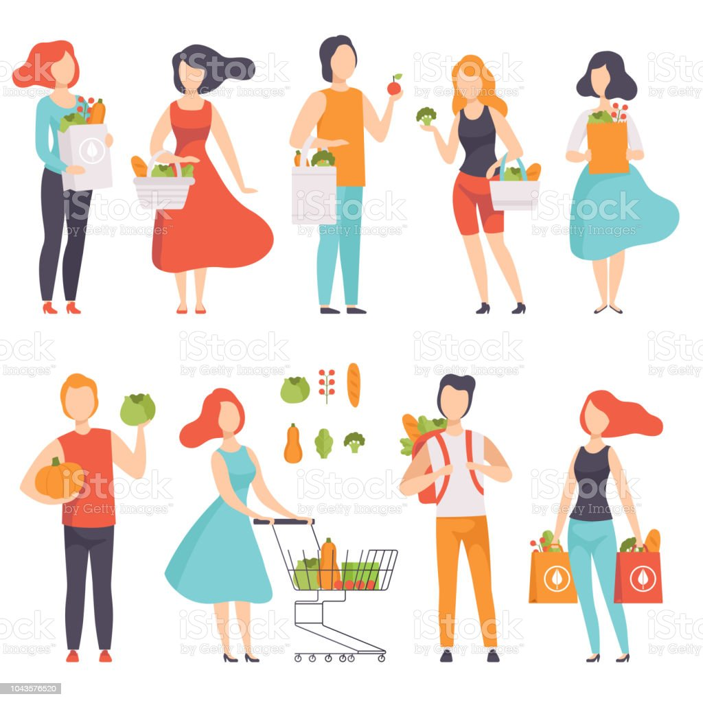 People with bags with healthy food, men and women doing shopping at the grocery shop vector Illustration on a white background vector art illustration