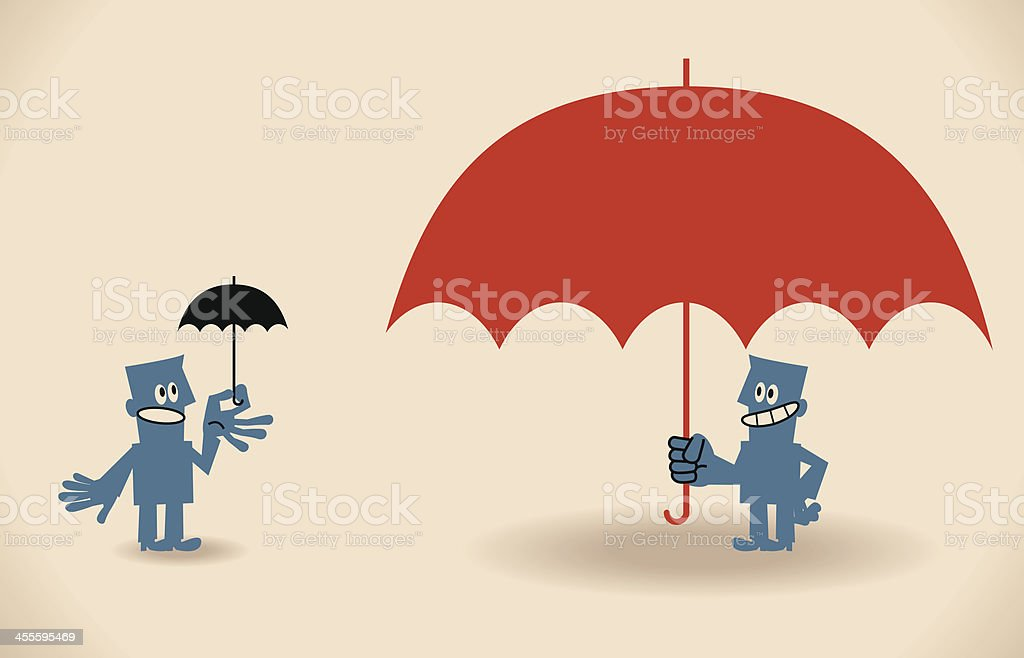 People with big and small umbrellas vector art illustration