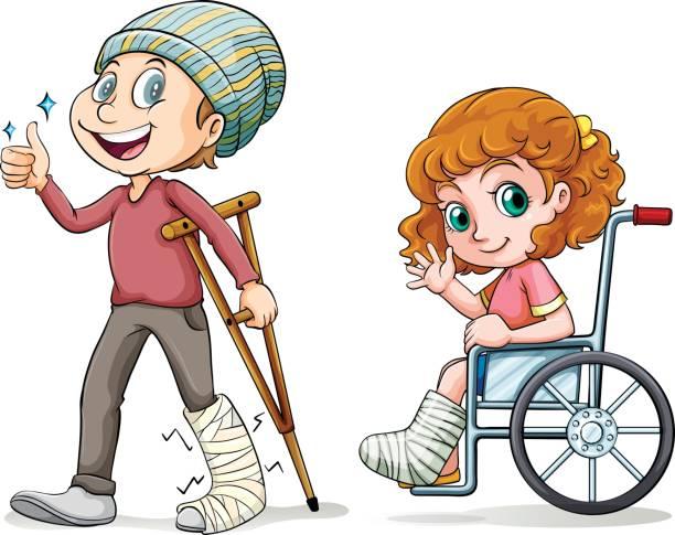 People with broken legs vector art illustration