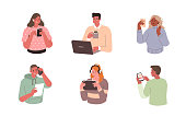Young People use Smartphones, Laptops and Tablets. Characters with Different Devices. Boys and Girls Talking and Typing on Phone. Female and Male Characters Set. Flat Cartoon Vector Illustration.