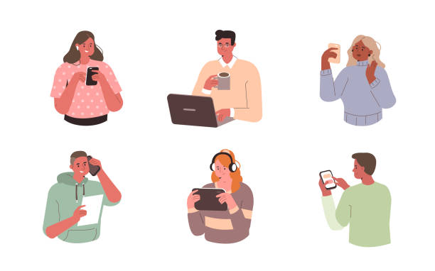 people with devices vector art illustration