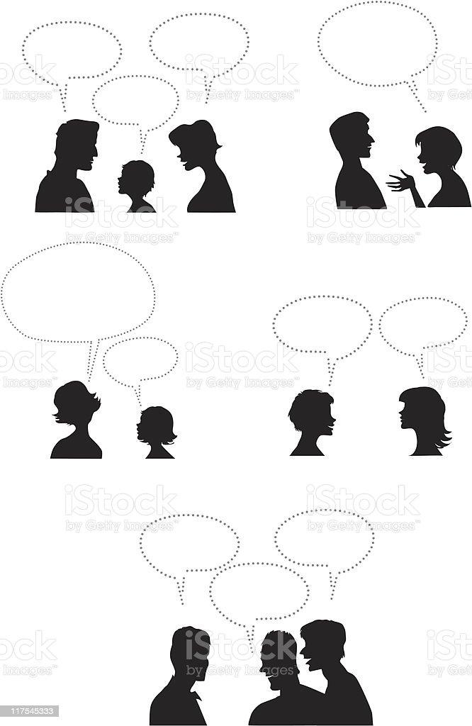 People with dialogue balloons - Royaltyfri Ansiktsuttryck vektorgrafik