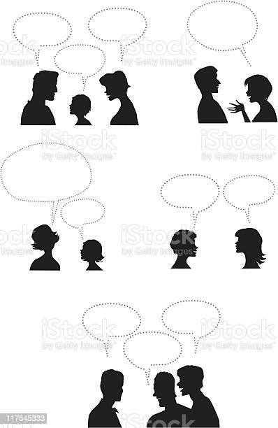 People With Dialogue Balloons-vektorgrafik och fler bilder på Ansiktsuttryck