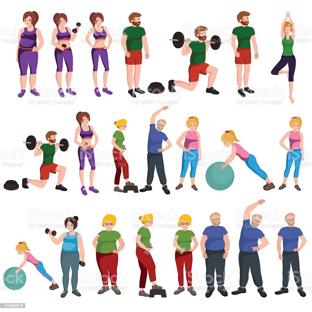 People with different body mass vector art illustration