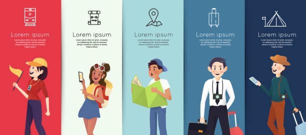 menschen mit unterschiedlichem charakter für das reisen in urlaub - fremdenführer stock-grafiken, -clipart, -cartoons und -symbole