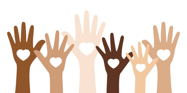 People with different skin colors raising their hands. Unity concept. Flat vector illustration of people with different skin colors raising their hands. Unity concept. multi ethnic group stock illustrations