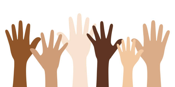 People with different skin colors raising their hands. Unity concept. Flat vector illustration of people with different skin colors raising their hands. Unity concept. toned image stock illustrations