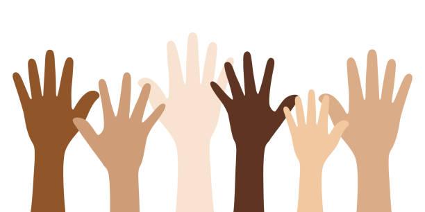 stockillustraties, clipart, cartoons en iconen met mensen met verschillende huid kleuren die hun handen verhogen. unity concept. - kleurtoon