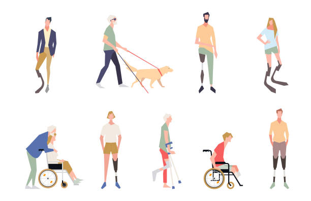 People with disabilities in the style of vector illustrations. Invalid people, a blind man, a broken leg, people on wheelchairs, dentures and legs. People after amputation on prostheses. vector art illustration