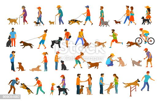 people with dogs graphic collection.man woman training their pets basic obedience commands like sit lay give paw walk close, exercising run jump barrier, protection, running playing and walking,teaching isolated vector illustration scenes set
