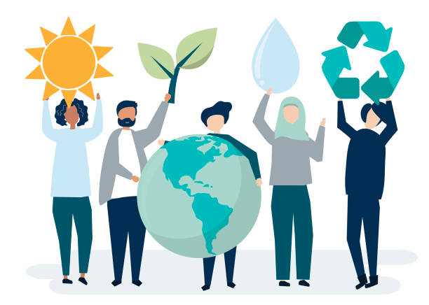 illustrazioni stock, clip art, cartoni animati e icone di tendenza di people with environmental sustainability concept - climate change