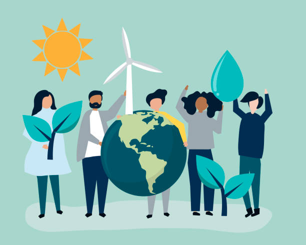 people with environmental sustainability concept - sustainability stock illustrations