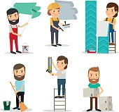 People with equipment repair house. Men and women brooming, painting, moving cardboard boxes, paperhanging. Vector illustration.