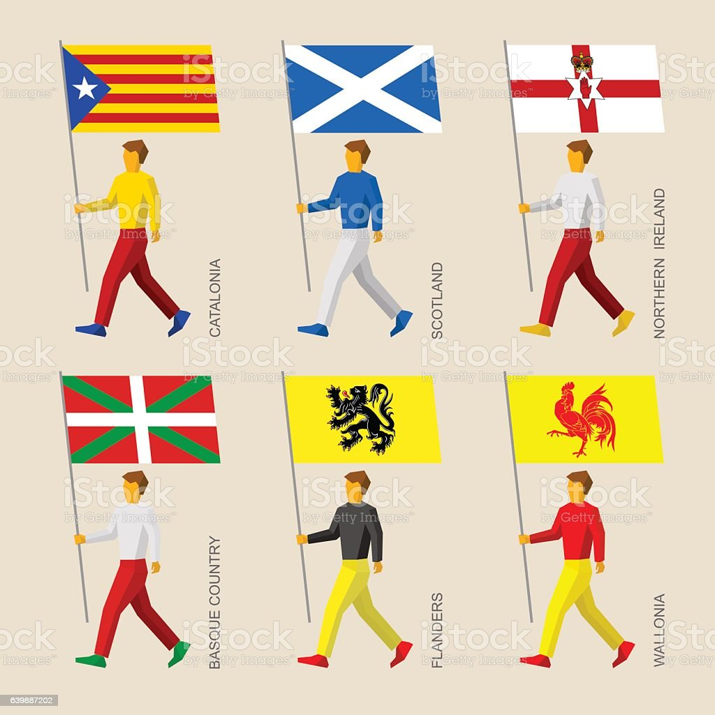 People with flags - Catalonia, Basque Country, Scotland, Flander ベクターアートイラスト